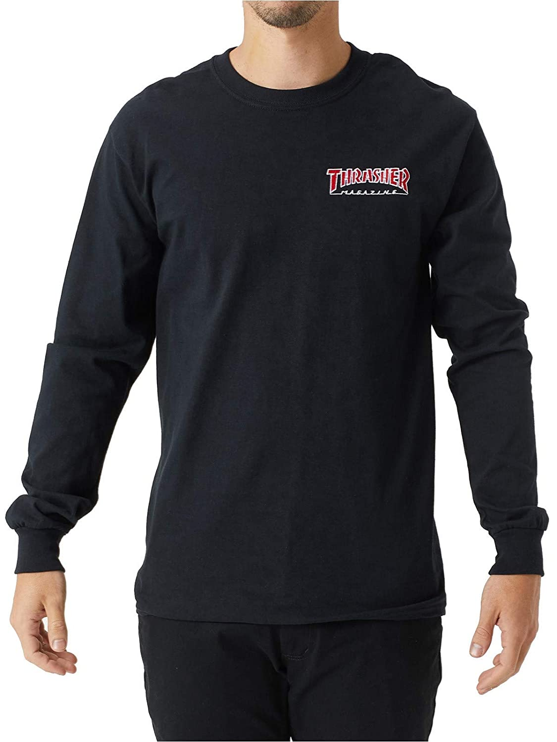 f56e605a71c3 Thrasher Embroidered Outlined Long Sleeve T-Shirt - Black | Amazon.com