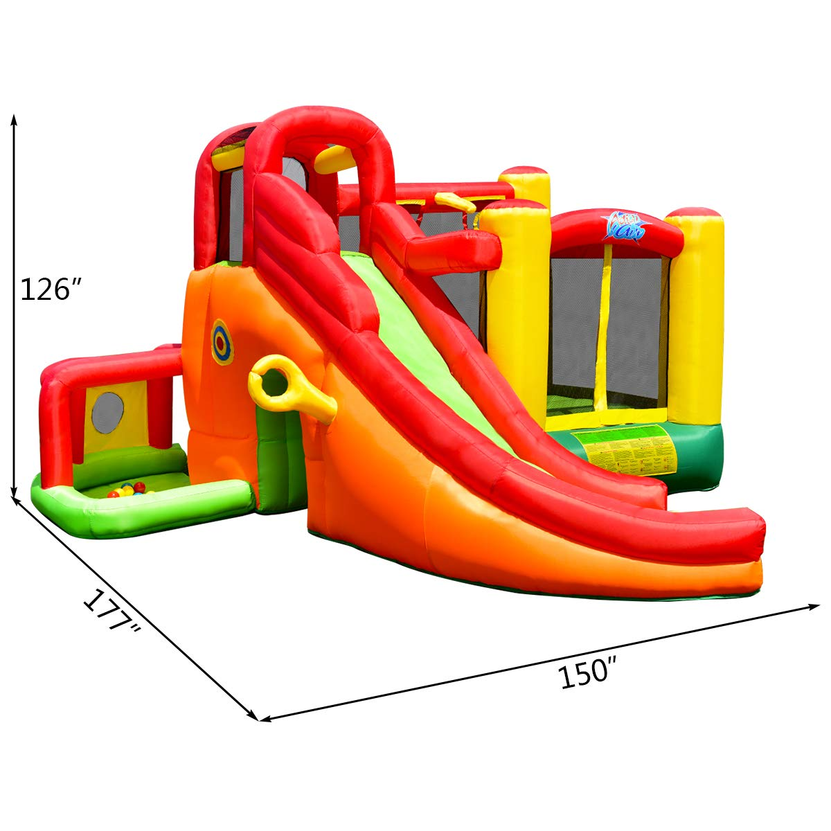 Costzon Inflatable Bounce House, 11 in 1 Mighty Kids Jump and Slide Castle w/ Climbing Wall, Tunnel, Basketball Hoop, Playing Area, Including Oxford Carry Bag, Repairing Kit, Stakes, 780W Air Blower by Costzon (Image #7)