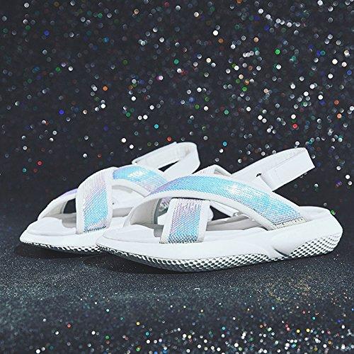 QQWWEERRTT Mode Sandaleen Neue Frauen Sommer Flache Römische Vintage Plattform Sport Plateauschuhe