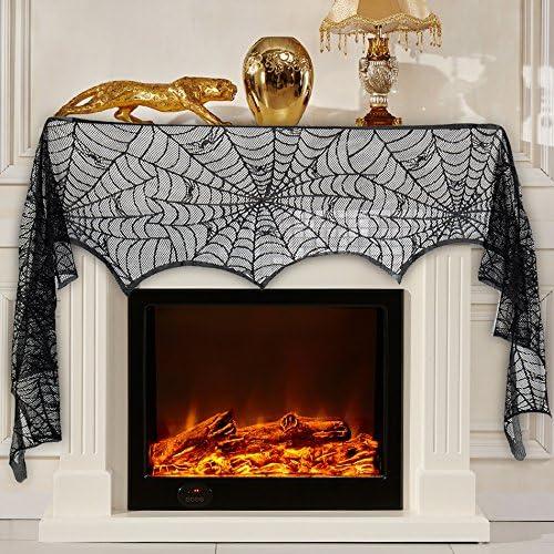 Royaliya Halloween Deko Tisch Tischdecke Turvorhang Spinnennetz Vorhang Fur Halloween Kamin Tur Tisch Fenster 290x48cm Amazon De Kuche Haushalt
