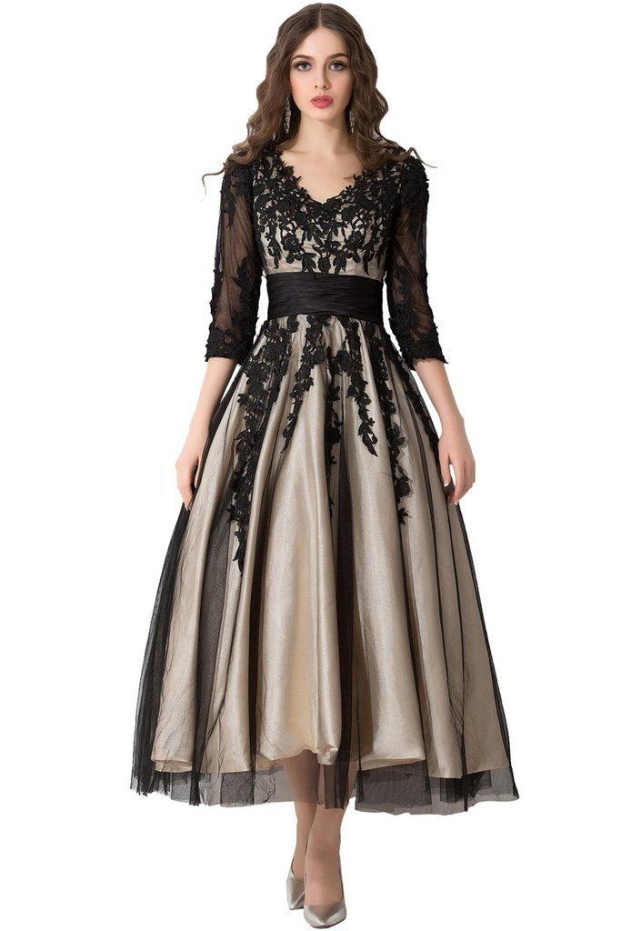 Snowskite Women's Black Lace Applique Tulle Long Formal Evening Dress Black(V-neck) 24