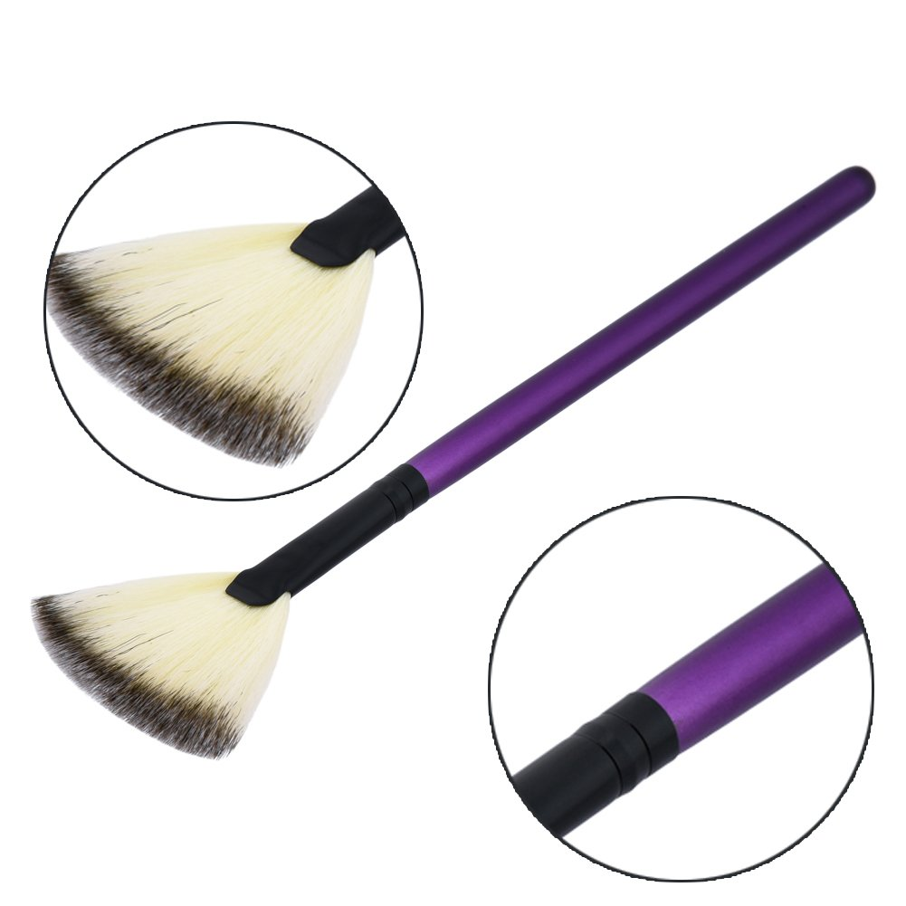 EUIRISTORE 1 Pc Professional Fan Brush Face Cheek Makeup Brush Contour Blush Highlighter Bronzer Brush