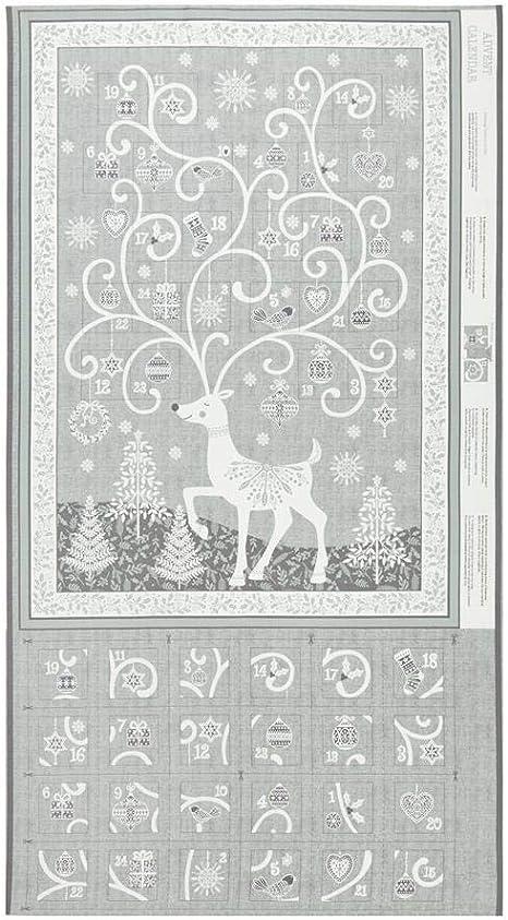 Multi SCANDI CHRISTMAS 2018 Makower UK Andover Fabrics 100 /% Cotton quilting fabric Panel Scandi Advent Calendar Panel