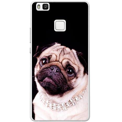 Carcasa rígida para teléfono móvil, diseño de perro de raza carlino, plástico, Princess Pug Wearing Diamonds, Huawei P9 lite