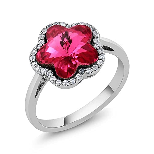 c3ed282c8 Amazon.com: Sterling Silver Pink Flower Women's Ring Made with Swarovski  Crystals: Jewelry