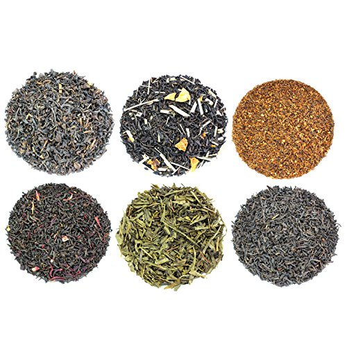 Loose Leaf Earl Grey Tea Sampler with Six Varieties of Earl Gray Tea including Classic Black, Russian, French, Oolong, Rooibos Herbal & Pan-Fried, Makes 120+ Cups of Tea