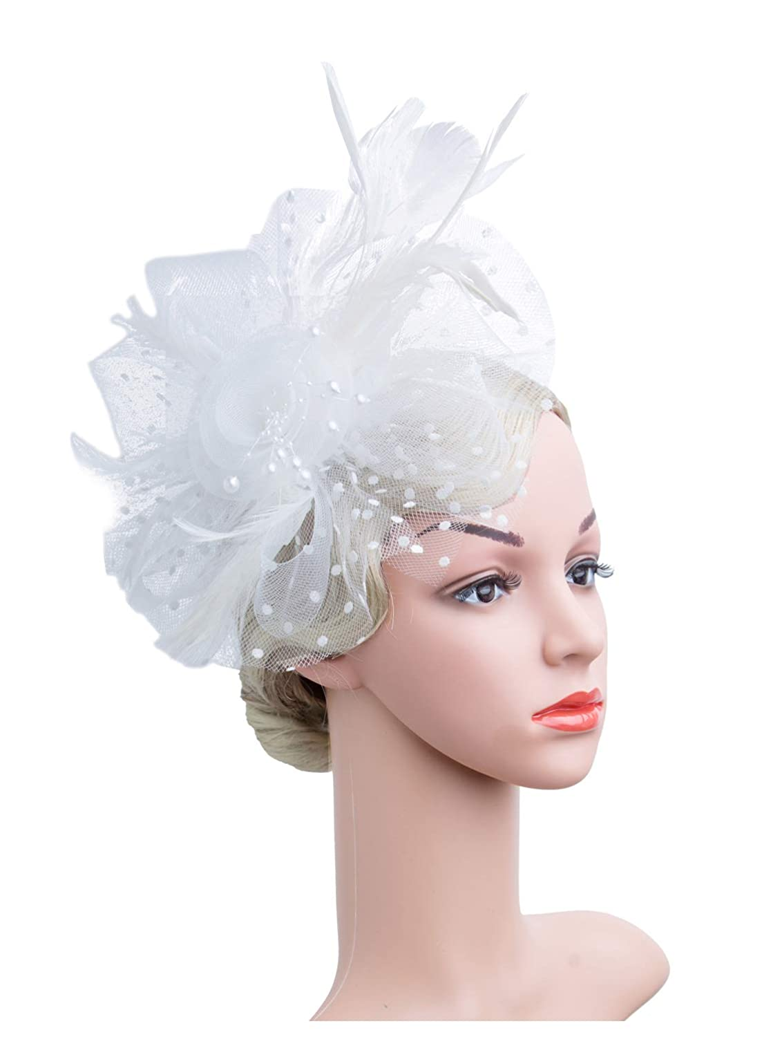 6ee400e79b480 Cizoe Flower Cocktail Tea Party Headwear Feather Fascinators Top Hat for  Girls and Women(1-A-White) at Amazon Women s Clothing store
