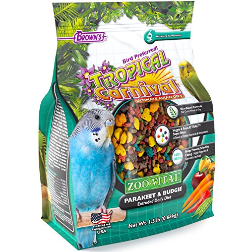 Tropical Carnival F.M. Brown's Zoo-Vital Parakeet & Budgie Pellet Daily Diet with with Probiotics for Healthy Digestion, Grain-Free, Rice-Based Formula, 100% Edible, Prevents Selective Eating, (Parakeet Pellets)