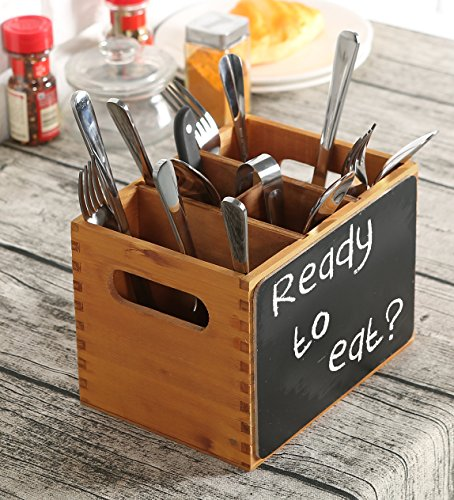 Countertop Silverware Organizer - 4 Compartment Wood Utensil Storage Caddy with Chalkboard Front Panel and Cut-Out Handles