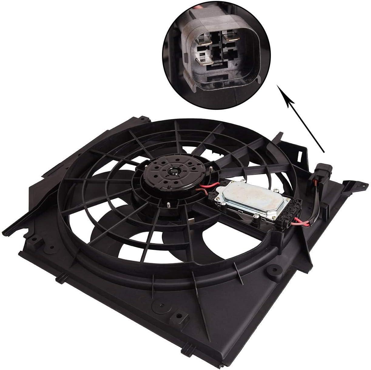 Bapmic 17117561757 Radiator Cooling Fan Assembly for BMW E46 325i 328i 330i 99-05