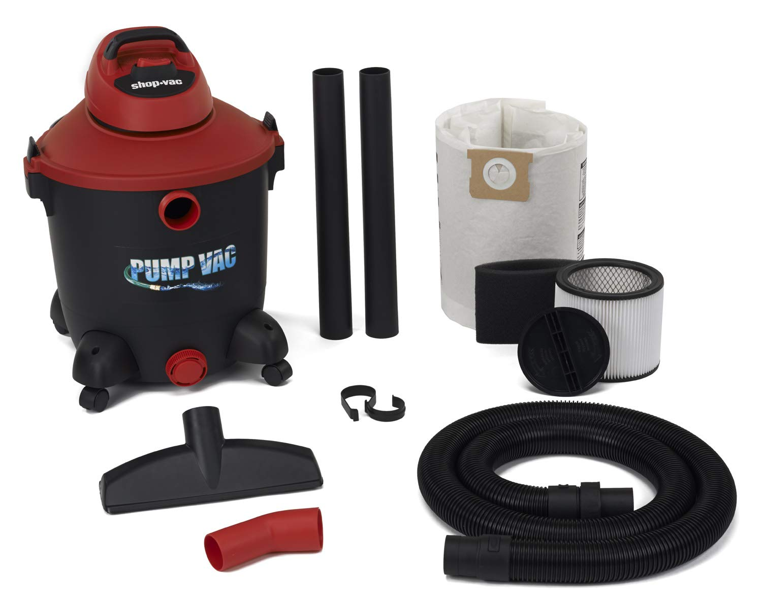 Shop Vac 5821200 12 Gal 5.0 PHP Wet Dry Vacuum with built in Pump will pump out with garden hose. Uses Type U Cartridge Type R Foam plus Type F Filter Bag by Shop-Vac