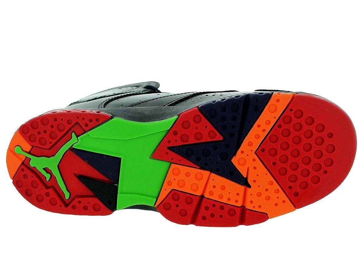 Jordan Nike Kids Air 7 Retro BP Black//University Red//Grn Pls//Cl Gry Basketball Shoe 2 Kids US