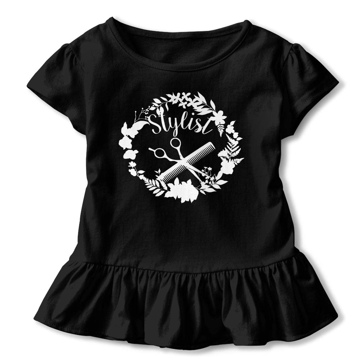 QUZtww Louise Morrison Hair Stylist Toddler Baby Girl Basic Printed Ruffle Short Sleeve Cotton T Shirts Tops Tee Clothes Black