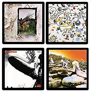 Led Zeppelin Coaster Collection-(4) Different Album Covers Reproduced Onto Soft, Absorbent, Collectible Coasters - by N2Pics
