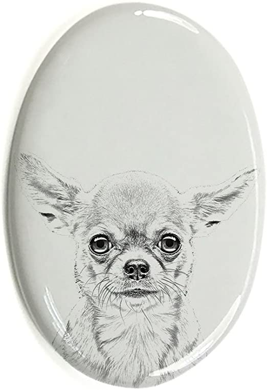 Gravestone oval ceramic tile with an image of a dog. Jagdterrier