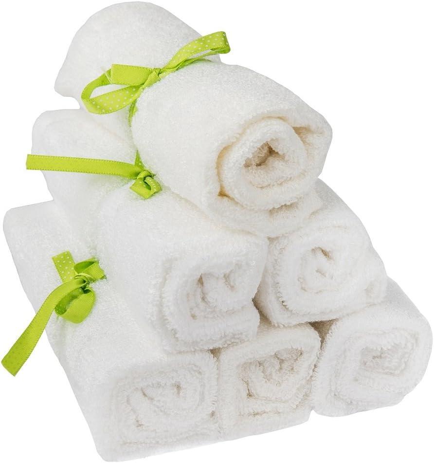 pandoo wash pañales 100% de bambú para bebés - peluche suave, sin colorantes, hipoalergénico y antibacteriano para la piel del bebé sensible - 25x25cm blanco - 6 piezas