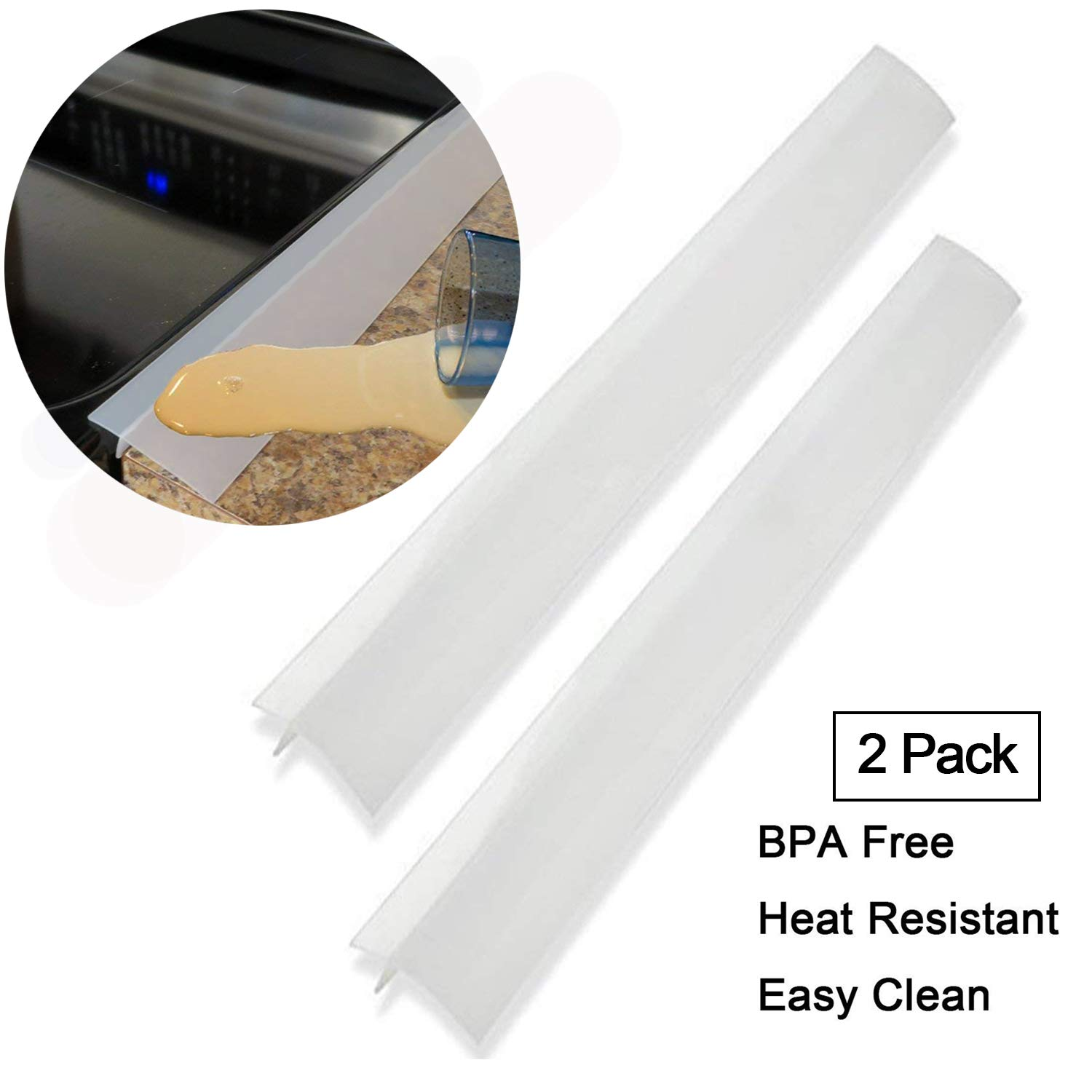25 inches silicone stove counter gap cover Easy Clean Wide & Long Gap Filler Seals Spills Between Stoves kitchen counter Washer & Dryer for Oven Stovetop Washing Machines Silicone Space Fillers Clear