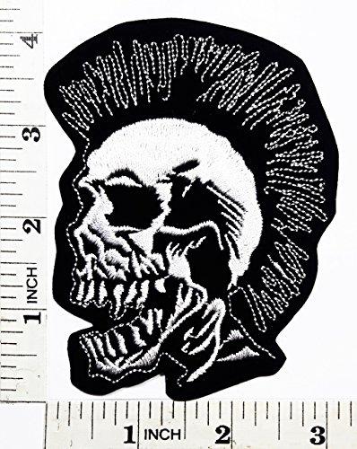SKULL Bone Punk Mohawk Motorcyle Bike patch Symbol Jacket T-shirt Patch Sew Iron on Embroidered Sign Badge Costume