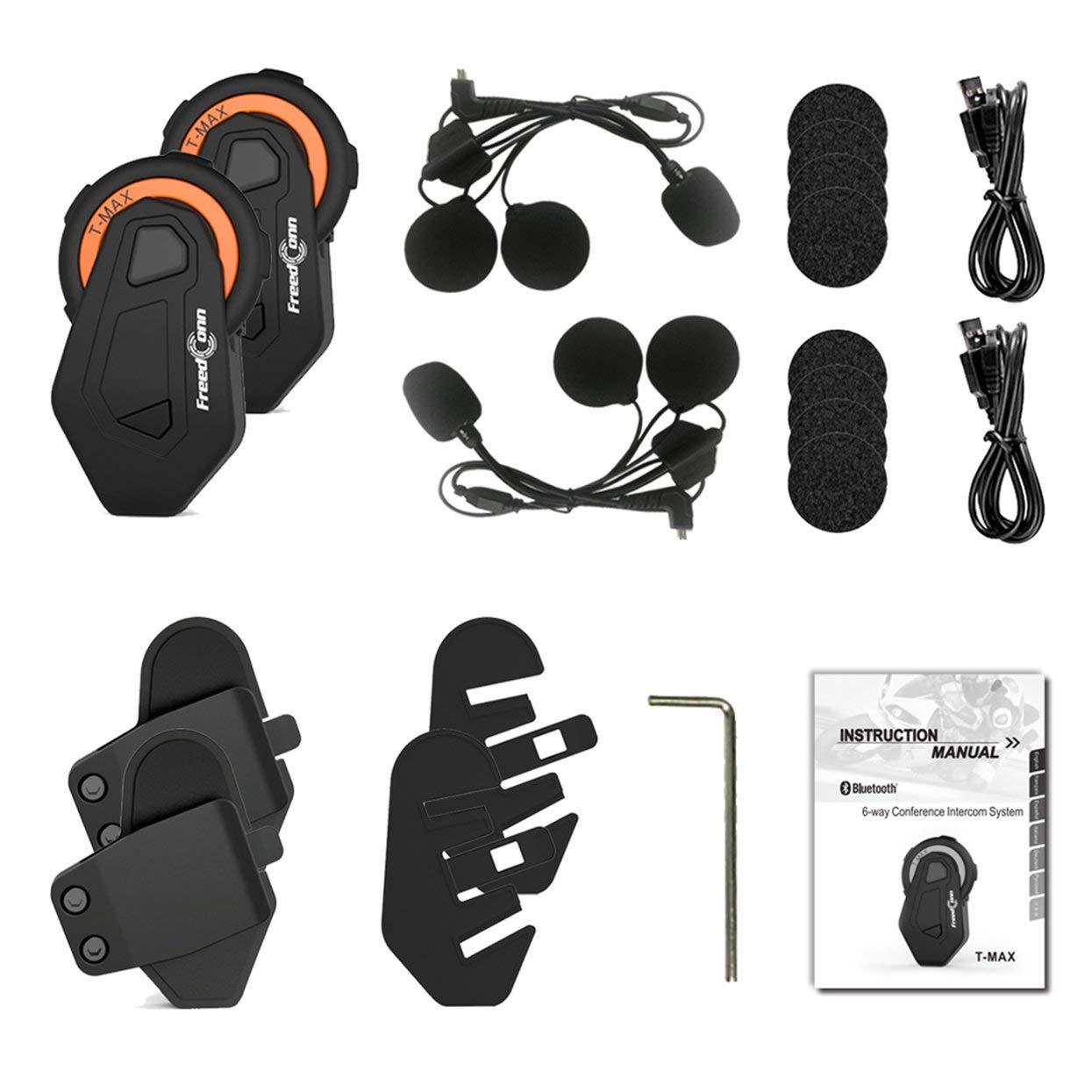 1 pack V6pro Intercomunicador Bluetooth Motocicletas,Intercomunicador de Casco,Casco Auriculares para Montar a Caballo//Esqu/í//Moto de Nieve//Scooter//MTB,6 Jinetes//12H Tiempo de Trabajo//Rango 1200m