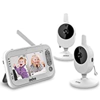 Video Baby Monitor JouSecu Infant Monitor with 2 Camera 4.3 Inches LCD Split Screen 1440mAh Rechargeable Battery Temperature Detection Baby Crying Detection Night Vision 2-Way Audio