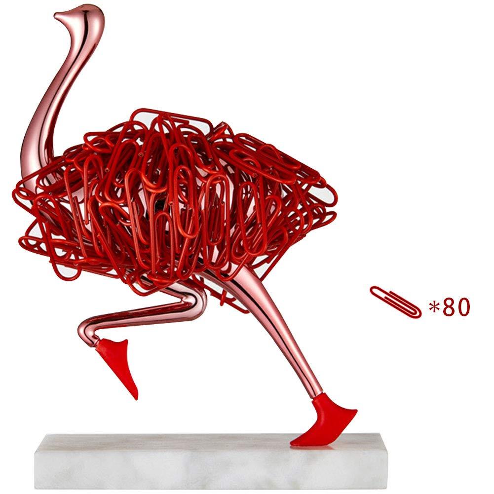 MOCOHANA Running Ostrich Magnetic Paper Clip Holder Jewelry Storage Dispenser Office Desk Decoration Gift for Friends Rose Gold by MOCOHANA
