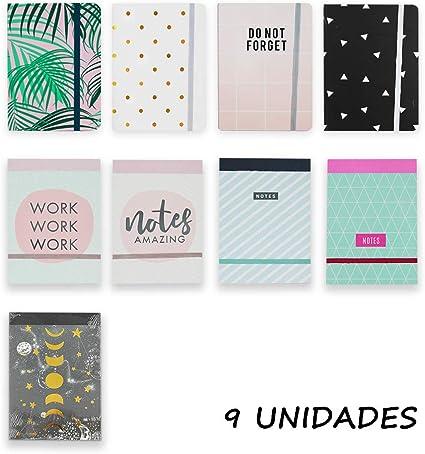 Starplast Pack 9 Libretas Notas, Cuaderno, Interior Rayas,15x10.5cm, 14x10.5cm Goma, Varios Diseños para Uso Escolar, Oficina, Trabajo, etc. 10 Diseños: Amazon.es: Oficina y papelería