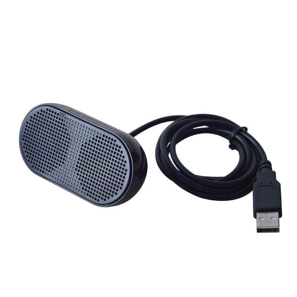 UKHONK Mini USB Lautsprecher Tragbarer Lautsprecher Powered Stereo Multimedia Lautsprecher fü r Notebook Laptop PC(Schwarz) 5002hei