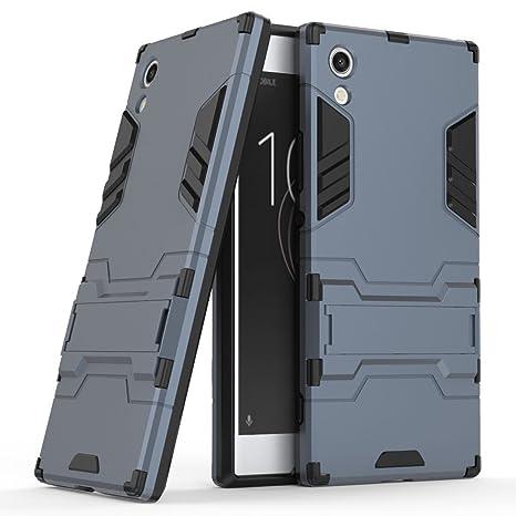 Funda para Sony Xperia XA1 (5 Pulgadas) 2 en 1 Híbrida Rugged Armor Case Choque Absorción Protección Dual Layer Bumper Carcasa con pata de Cabra (Azul ...