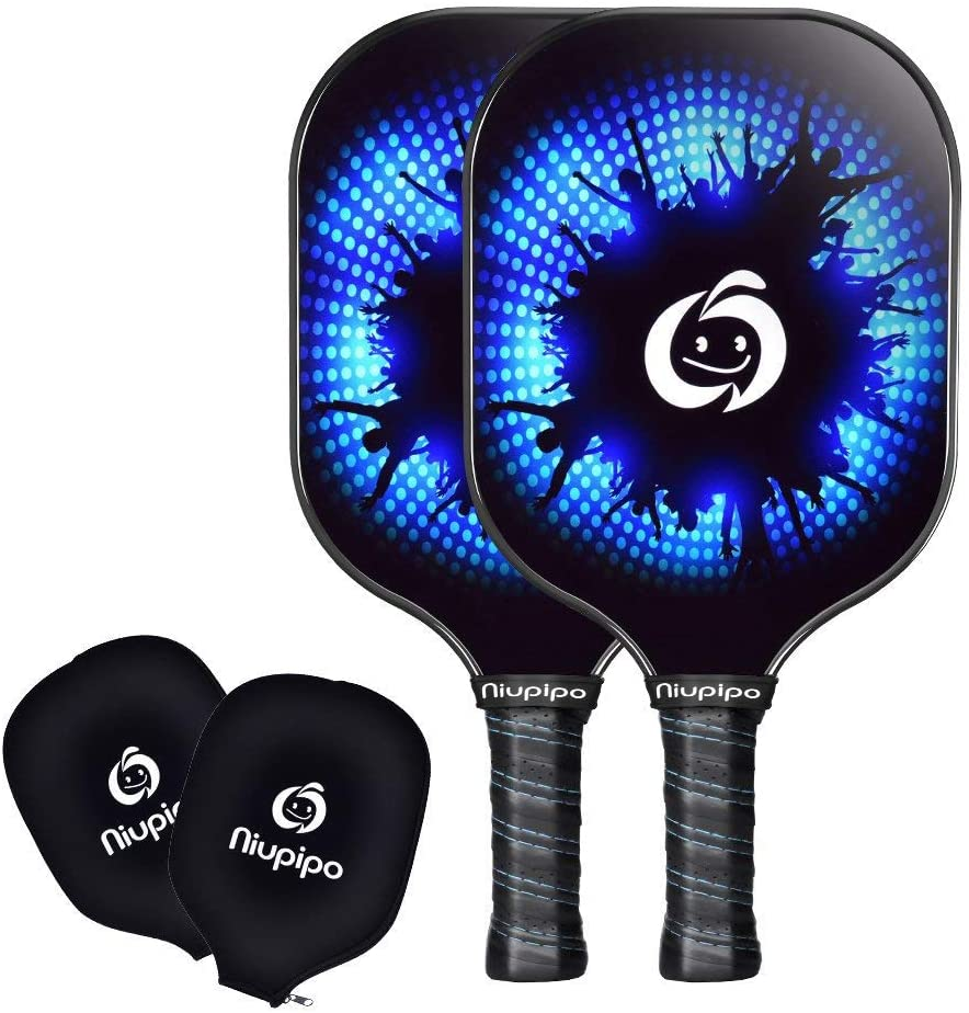 niupipo Pickleball Paddle Set of 2 - USAPA Approved Graphite Pickleball Paddles, Carbon Fiber Surface, Polypropylene Honeycomb Core, Cushion Grip, Paddle Covers, Lightweight Pickleball Racket, Blue : Sports & Outdoors