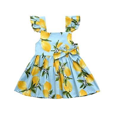 476638d88a24 Amazon.com: Goodtrade8® Toddler Baby Girl Summer Lemon Off-Shoulder Dress  Infant Kids Ruffle Sleeve Sun Dress: Clothing