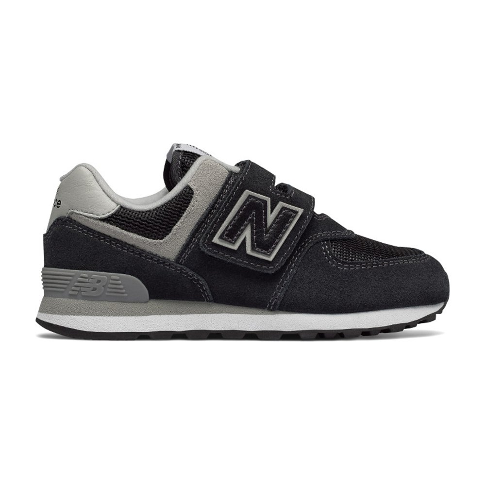 New Balance Boy's 574v1 Essentials Hook and Loop Sneaker, Black/Grey, 1 M US Little Kid