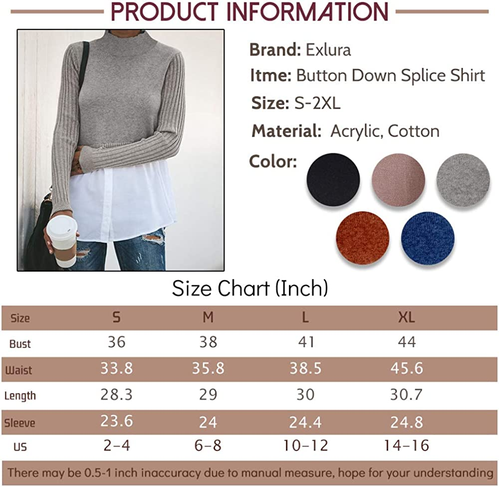 Exlura Womens Patchwork Shirt Ribbed Sleeve Shirt Hem Button Down 2 in 1 Pullover Tops