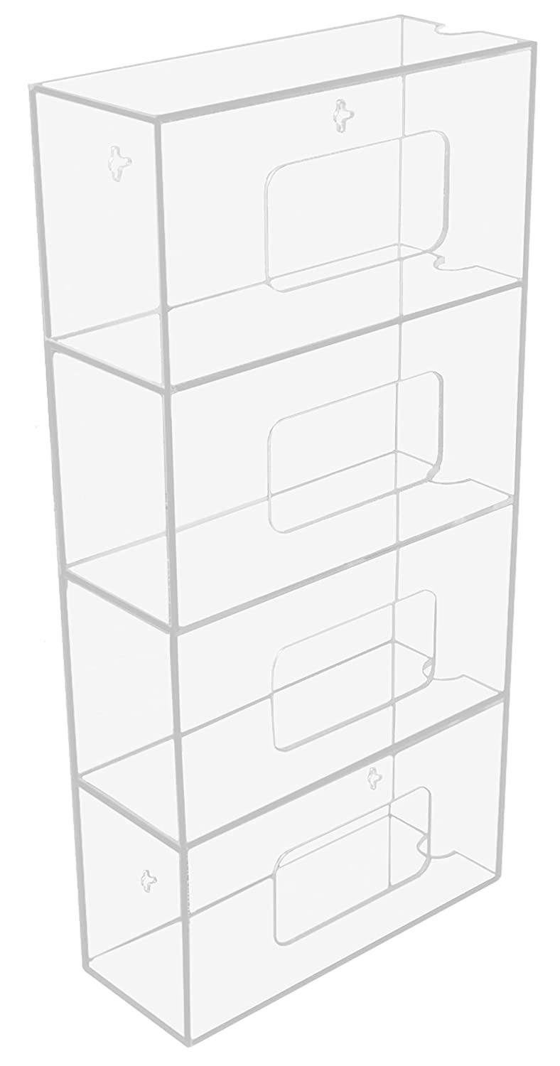 TrippNT 50850 Clear Acrylic Quadruple Side Loading Glove Box Holder, 10' Width x 20' Height x 4' Depth 10 Width x 20 Height x 4 Depth