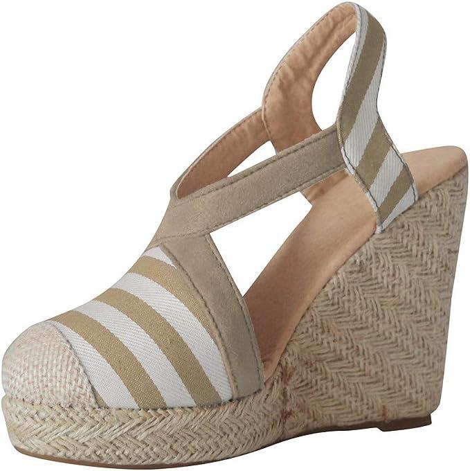IMJONO Chaussures Printemps Femme Espadrilles Plateforme en