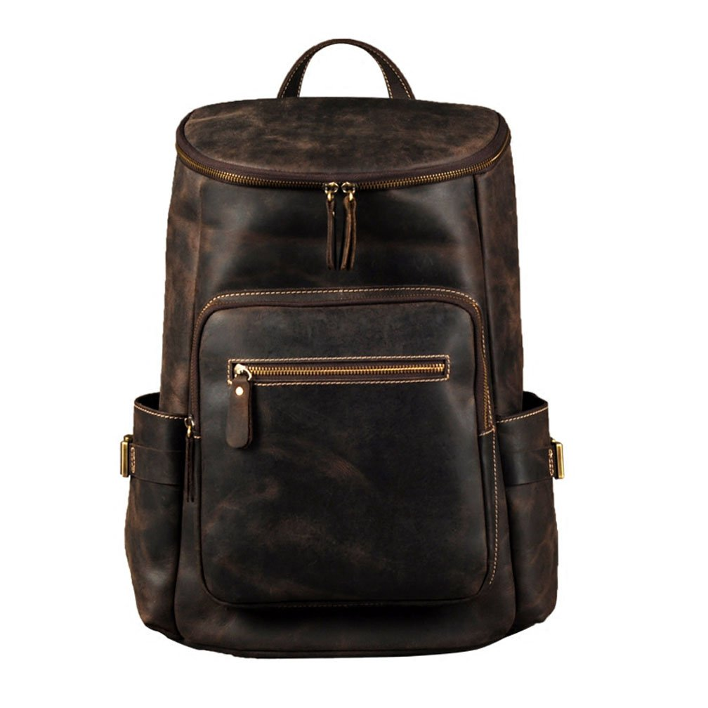 Boleke Men Cowhide Genuine Leather Backpack Vintage Extra Capacity Travel Sports Bag