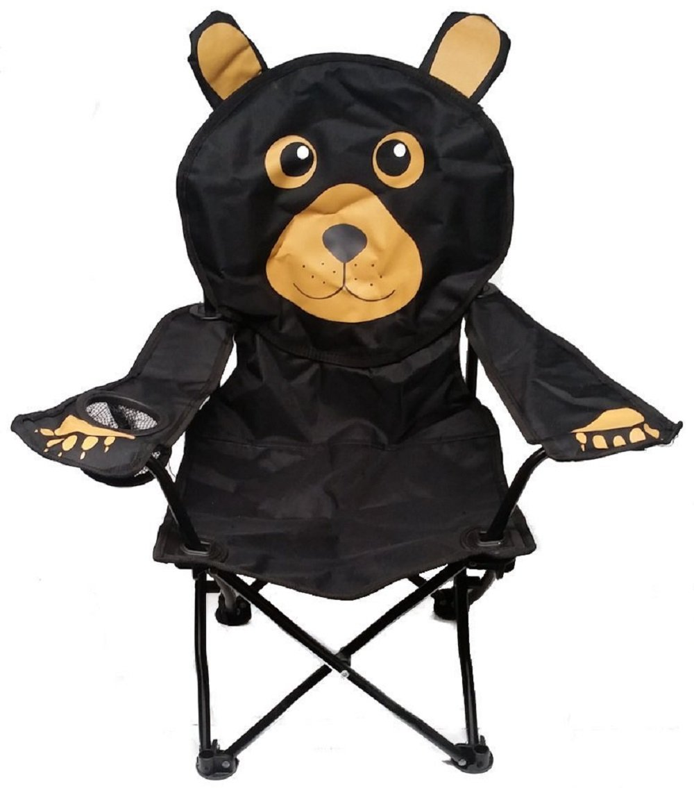Wilcor Kids Black Bear Folding Camp Chair with Cup Holder and Carry Bag