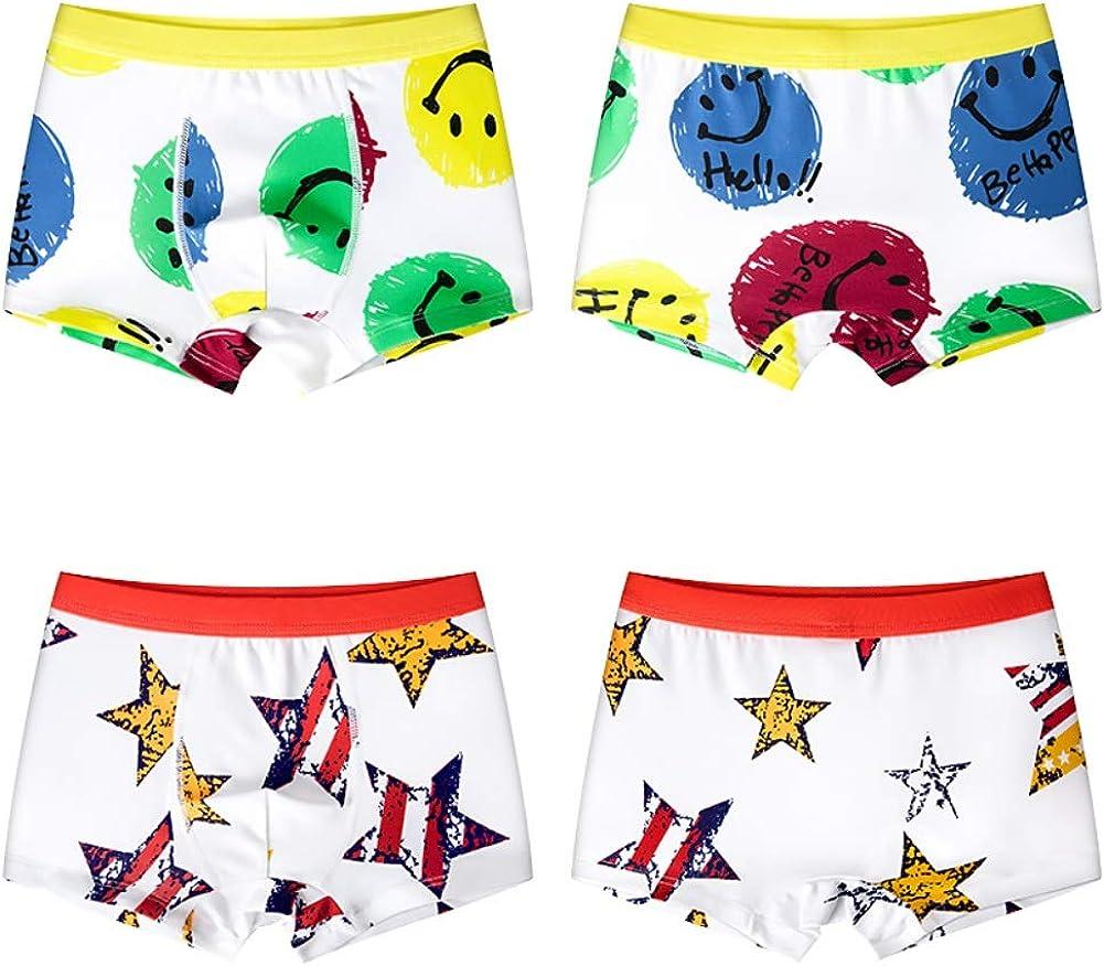 URMAGIC Boys Underwear Children Kids 2 Pack Soft Cotton Cool Cartoon Pattern Boxer Briefs Little Boys Assorted Underpants Ages 3-11 Years