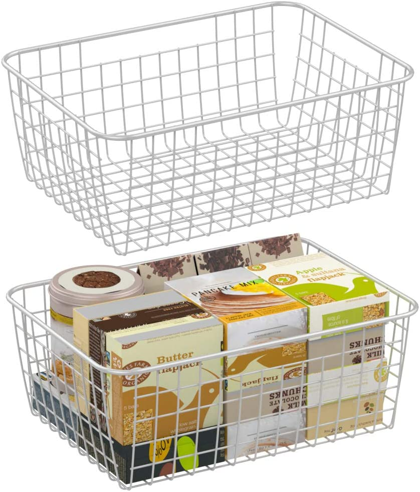 Wire Storage Basket, F-color 2 Pack Large Metal Household Storage Organizer Bin with 4 Built-in Handles for Pantry, Shelf, Freezer, Kitchen Cabinet, Bathroom, White