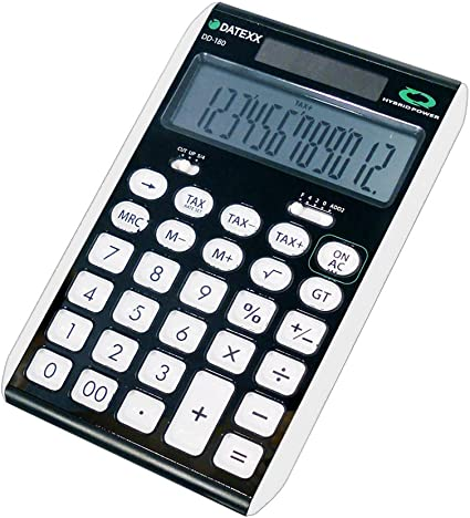 Splaks calculadora de escritorio est/ándar funcional Sola y AA bater/ía calculadora electr/ónica de doble potencia con visualizaci/ón grande de 12 d/ígitos Calculadora