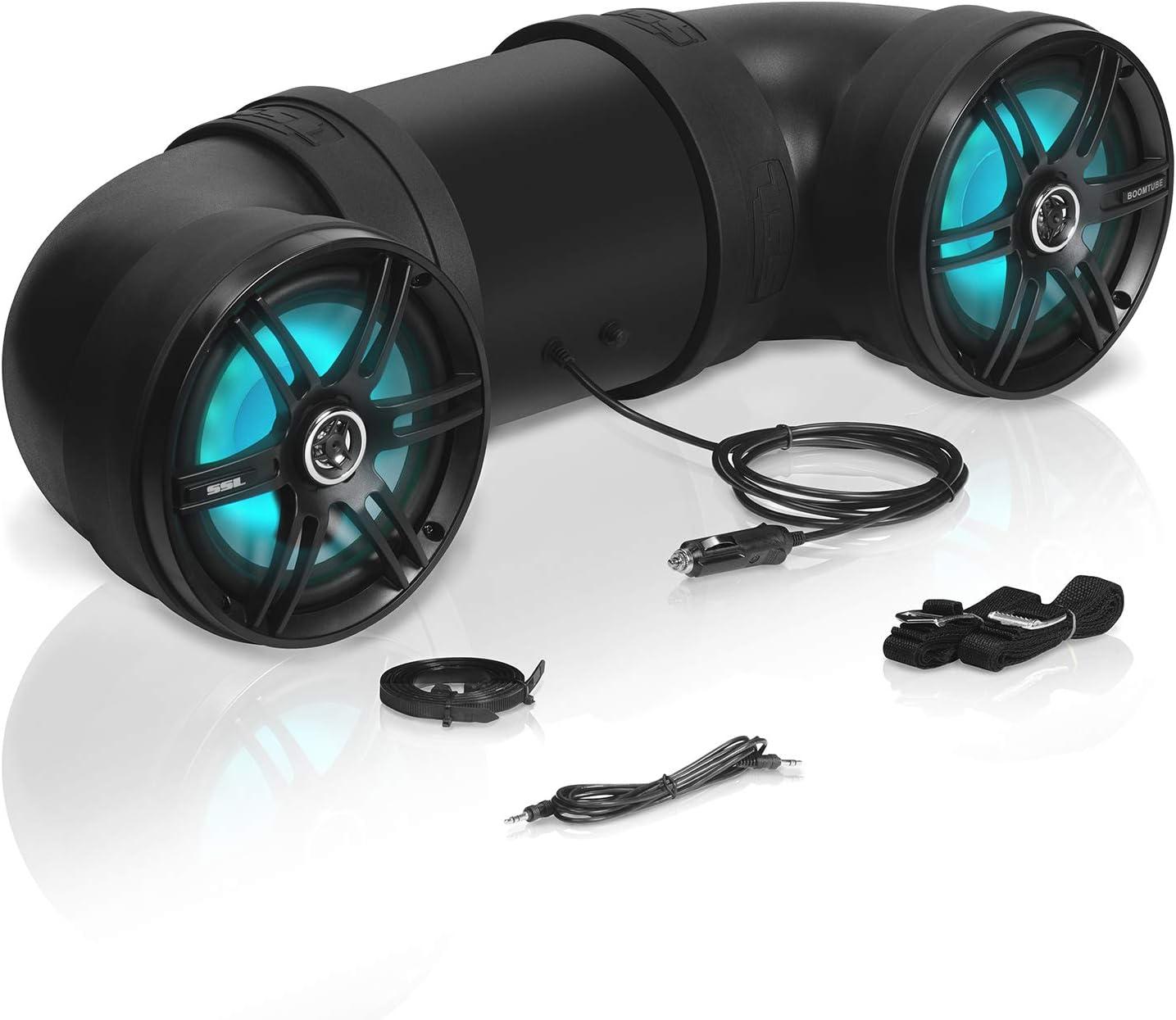 Soundstorm BTB8L 8 Inch 8W Bluetooth Amplified Marine Powersports UTV ATV  Tube Speaker System with LED Lights, Black