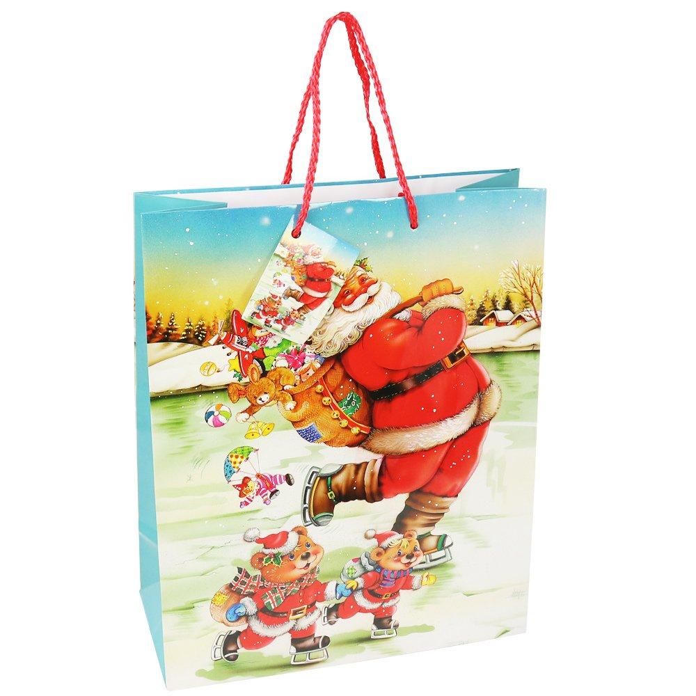 06 Pezzi - Mix di Natale3 Borsa Regalo XXL con Tema Natalizio Babbo Natale e Avvento Borsa Regalo com-four/® Borsa Regalo 6X per Natale