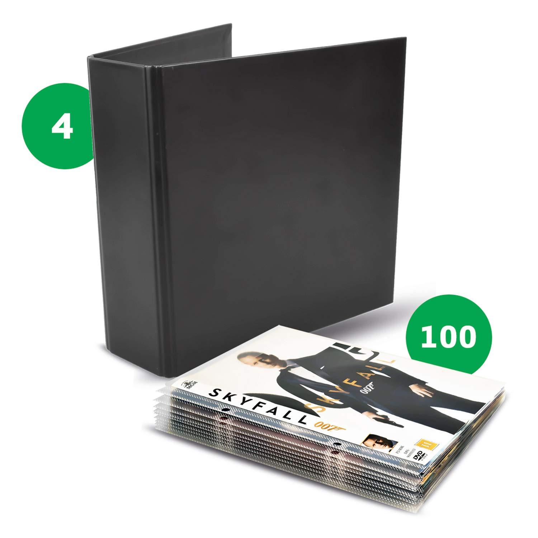 Tarifold 10264 DVD Storage Bundle Pack - 100 DVD Protective Sleeves and 4 DVD Black Binders - Optimal Storage and Organizer by Tarifold