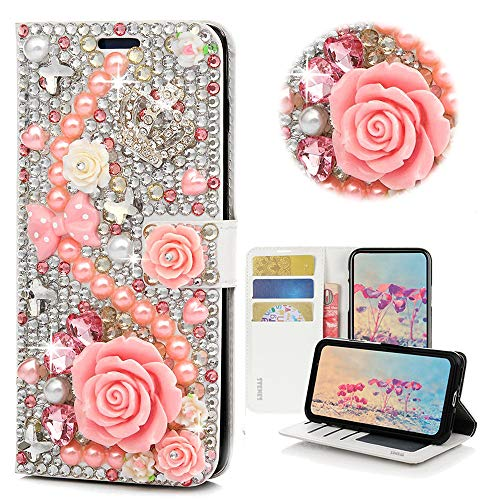 STENES Bling Wallet Case Compatible with LG V35 ThinQ - STYLISH - 3D Handmade Crystal Rose Crown Bowknot Flowers Magnetic Wallet Design Leather Cover Case - Pink