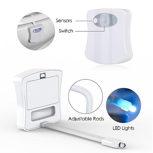 Luz del LED del tocador, sensor de movimiento colorido Luz de la noche del tocador, sensor movido automático Sensor LED Lámpara del LED (cambio de 8 colores ...