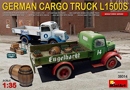 PLASTIC MODEL BUILDING TRUCK KIT GERMAN CARGO TRUCK L1500S 1/35 MINIART 38014
