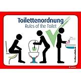 4x Toilettenordnung Aufkleber: Sitzen pinkeln, Klobürste nutzen, Hände waschen Kloordnung @immi.de