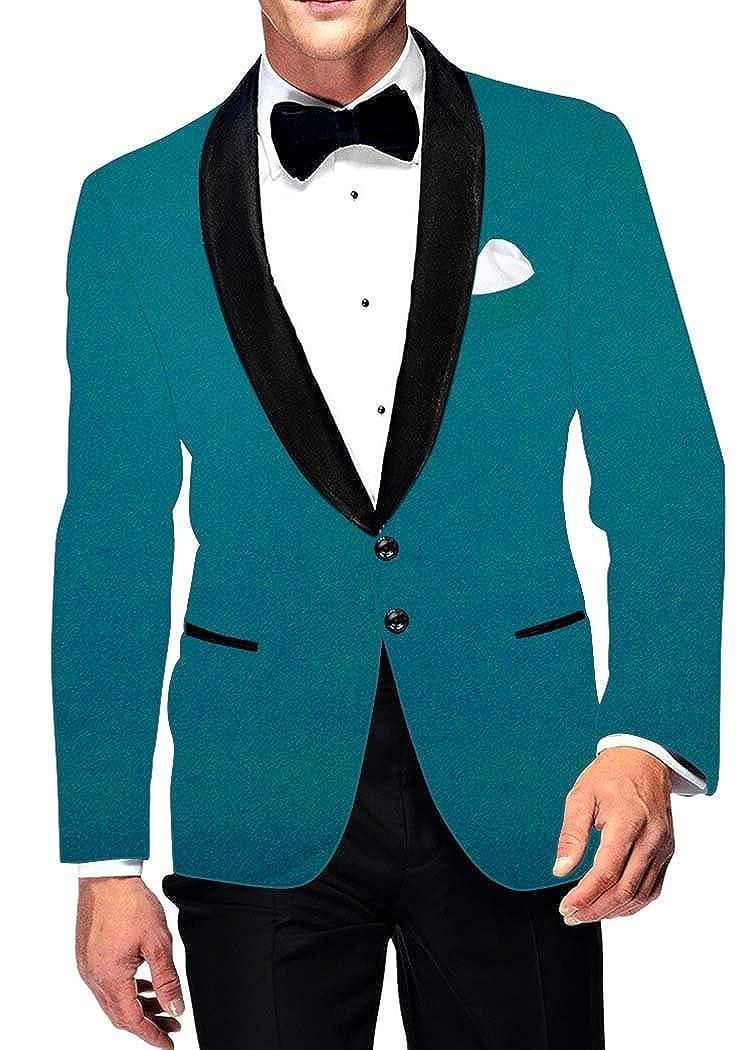 INMONARCH Mens Teal Velvet Blazer Two Button VB13963