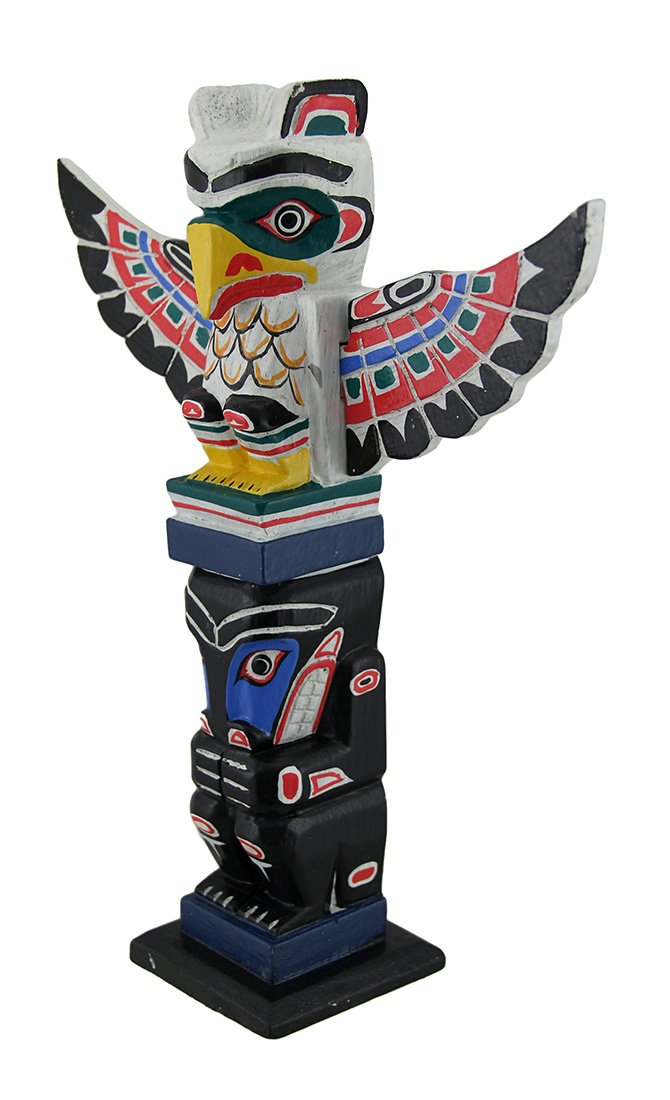 Amazon Wood Statues Northwest Coast Inspired Colorful Wooden Eagle Totem Pole 12 Inch 95 X 3 Inches White Model 69050 Home Kitchen