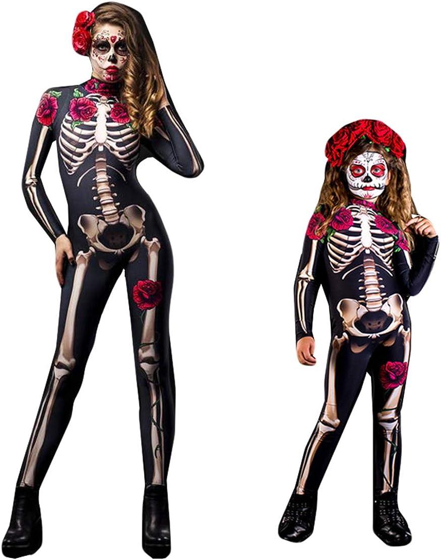 wetry Disfraz Esqueleto Mujer Niño Mono Cosplay Trajes de Halloween Disfraz Carnaval Navidad