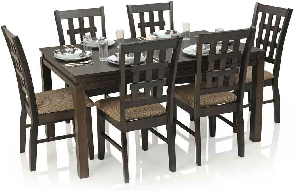 Royal Oak Daisy Six Seater Dining Table Set (Walnut): Amazon.in: Home U0026  Kitchen